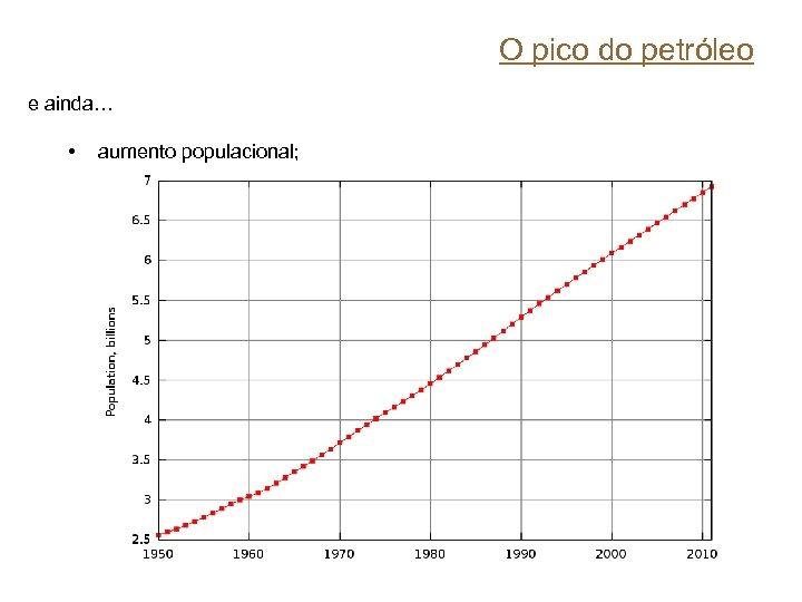 O pico do petróleo e ainda… • aumento populacional;
