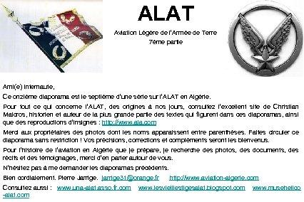 ALAT Aviation Légère de l'Armée de Terre 7ème partie Ami(e) Internaute, Ce onzième diaporama