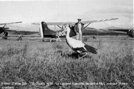 PMAH 27ème DIA - Tizi-Ouzou 1958 - La cigogne mascotte devant le Md. L