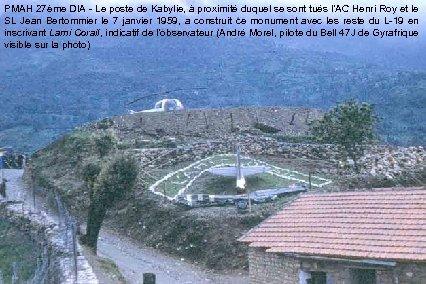PMAH 27ème DIA - Le poste de Kabylie, à proximité duquel se sont tués