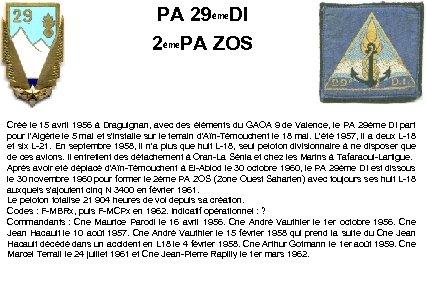 PA 29ème. DI 2ème. PA ZOS Créé le 15 avril 1956 à Draguignan, avec