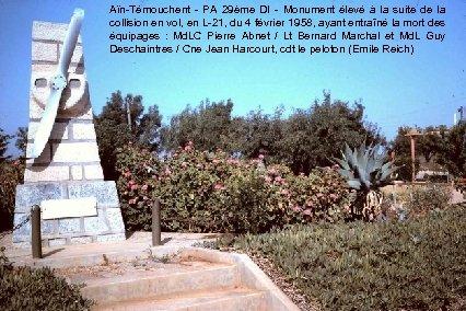 Aïn-Témouchent - PA 29ème DI - Monument élevé à la suite de la collision