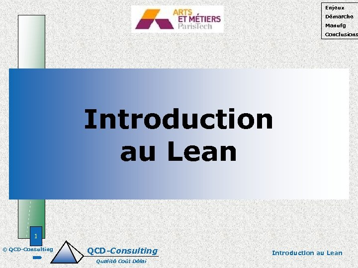 Enjeux Démarche Manufg Conclusions Introduction au Lean 1 © QCD-Consulting Qualité Coût Délai Introduction