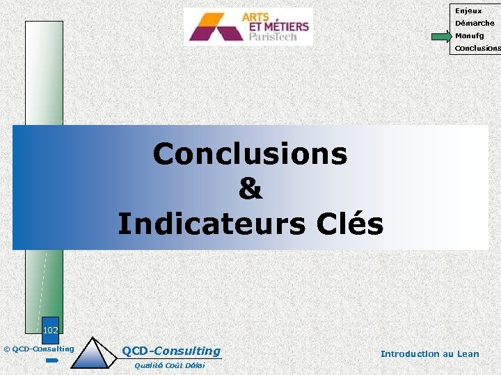 Enjeux Démarche Manufg Conclusions & Indicateurs Clés 102 © QCD-Consulting Qualité Coût Délai Introduction