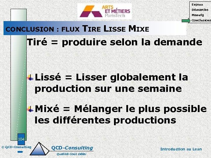 Enjeux Démarche Manufg Conclusions CONCLUSION : FLUX TIRE LISSE MIXE Tiré = produire selon