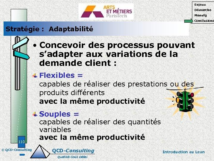 Enjeux Démarche Manufg Conclusions Stratégie : Adaptabilité • Concevoir des processus pouvant s'adapter aux