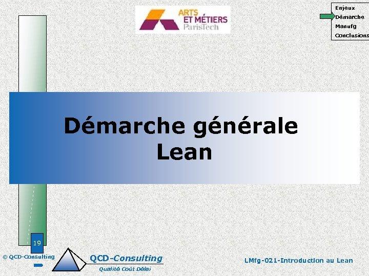 Enjeux Démarche Manufg Conclusions Démarche générale Lean 19 © QCD-Consulting Qualité Coût Délai LMfg-021