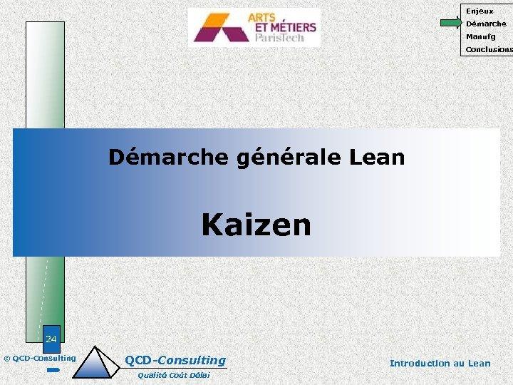 Enjeux Démarche Manufg Conclusions Démarche générale Lean Kaizen 24 © QCD-Consulting Qualité Coût Délai