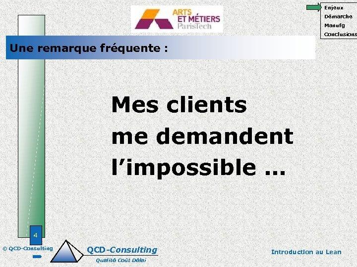 Enjeux Démarche Manufg Conclusions Une remarque fréquente : Mes clients me demandent l'impossible …