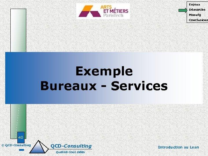Enjeux Démarche Manufg Conclusions Exemple Bureaux - Services 40 © QCD-Consulting Qualité Coût Délai