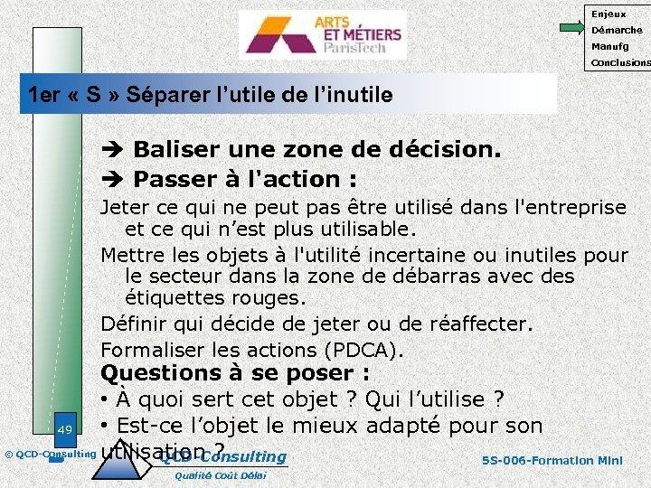 Enjeux Démarche Manufg Conclusions 1 er « S » Séparer l'utile de l'inutile Baliser