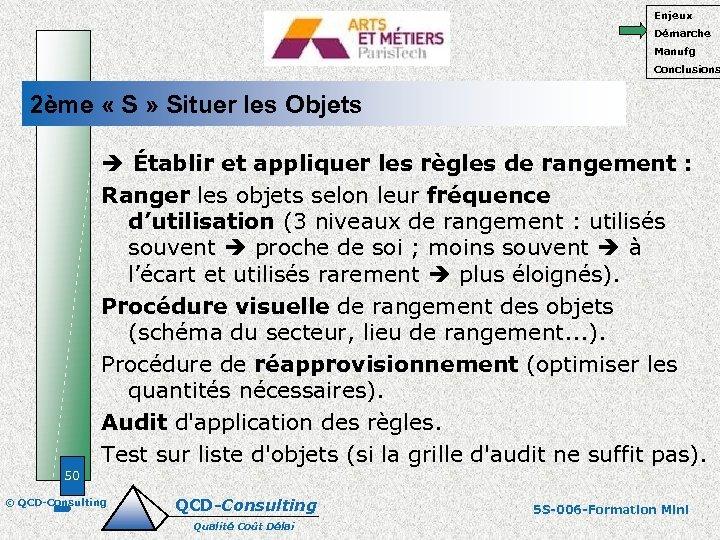 Enjeux Démarche Manufg Conclusions 2ème « S » Situer les Objets Établir et appliquer