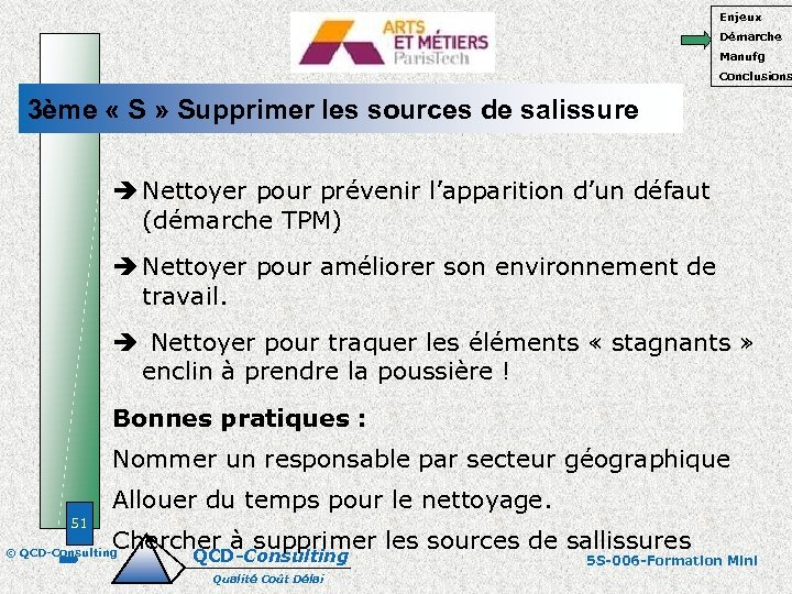 Enjeux Démarche Manufg Conclusions 3ème « S » Supprimer les sources de salissure Nettoyer