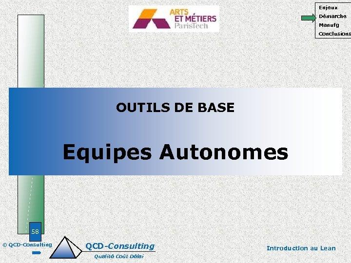 Enjeux Démarche Manufg Conclusions OUTILS DE BASE Equipes Autonomes 58 © QCD-Consulting Qualité Coût