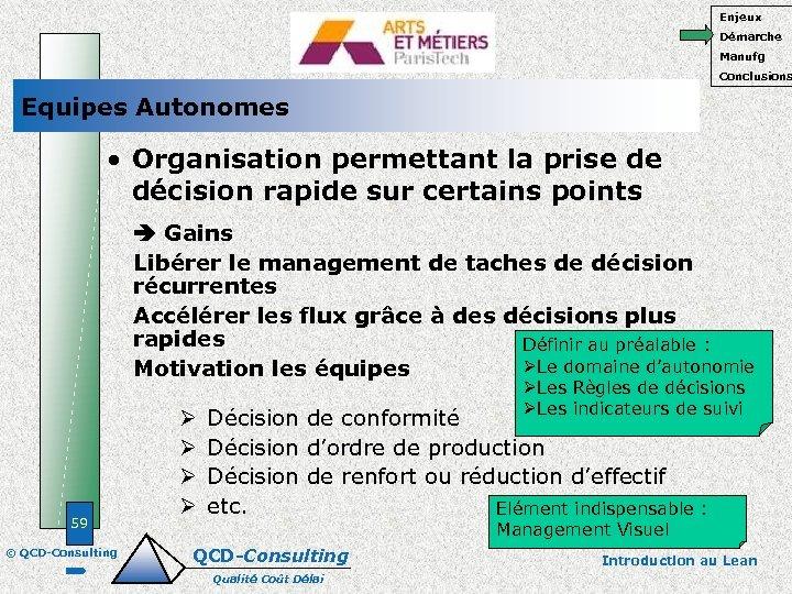 Enjeux Démarche Manufg Conclusions Equipes Autonomes • Organisation permettant la prise de décision rapide