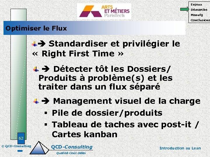 Enjeux Démarche Manufg Conclusions Optimiser le Flux Standardiser et privilégier le « Right First