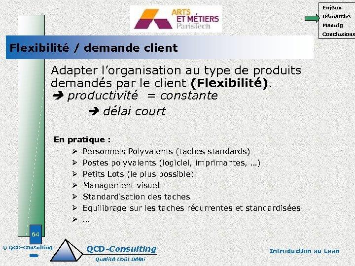 Enjeux Démarche Manufg Conclusions Flexibilité / demande client Adapter l'organisation au type de produits