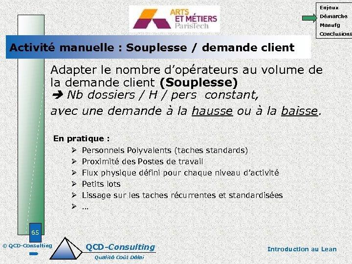 Enjeux Démarche Manufg Conclusions Activité manuelle : Souplesse / demande client Adapter le nombre
