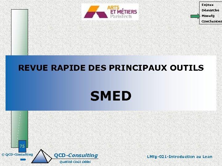 Enjeux Démarche Manufg Conclusions REVUE RAPIDE DES PRINCIPAUX OUTILS SMED 75 © QCD-Consulting Qualité
