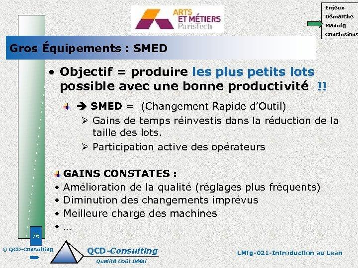 Enjeux Démarche Manufg Conclusions Gros Équipements : SMED • Objectif = produire les plus