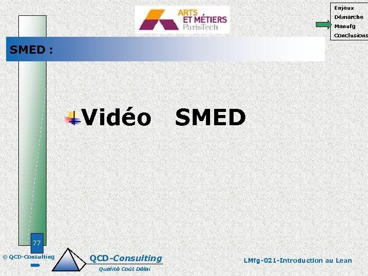 Enjeux Démarche Manufg Conclusions SMED : Vidéo SMED 77 © QCD-Consulting Qualité Coût Délai
