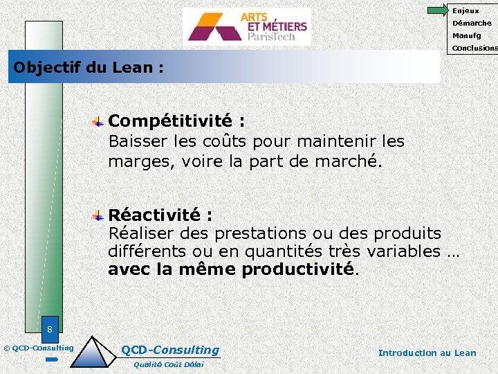 Enjeux Démarche Manufg Conclusions Objectif du Lean : Compétitivité : Baisser les coûts pour