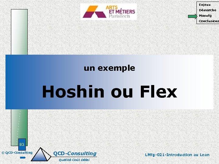 Enjeux Démarche Manufg Conclusions un exemple Hoshin ou Flex 83 © QCD-Consulting Qualité Coût