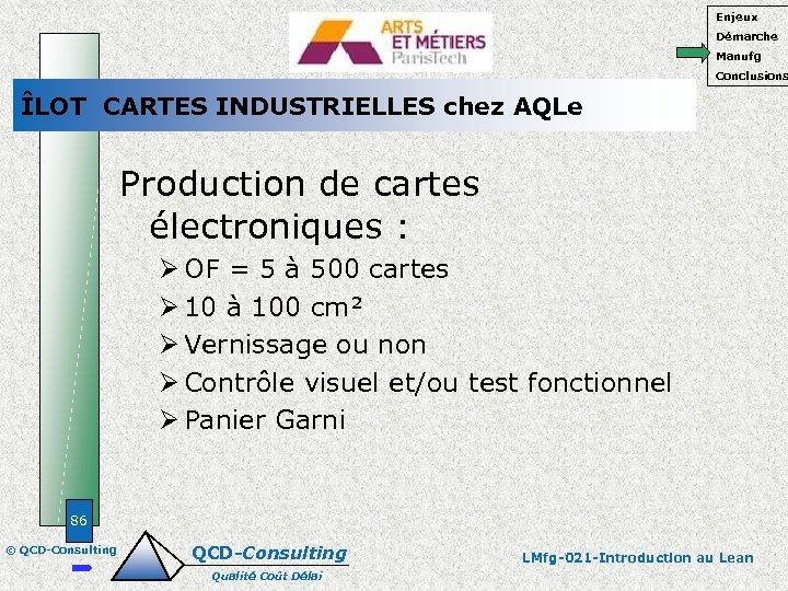 Enjeux Démarche Manufg Conclusions ÎLOT CARTES INDUSTRIELLES chez AQLe Production de cartes électroniques :