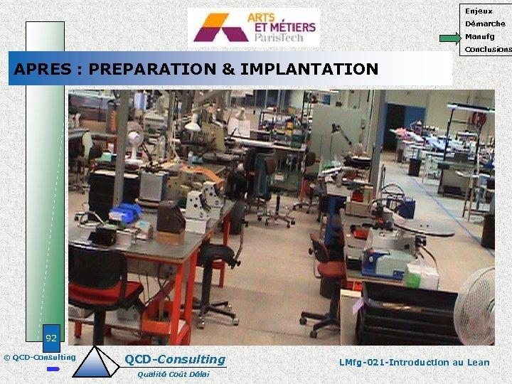 Enjeux Démarche Manufg Conclusions APRES : PREPARATION & IMPLANTATION 92 © QCD-Consulting Qualité Coût