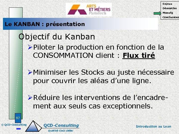 Enjeux Démarche Manufg Conclusions Le KANBAN : présentation Objectif du Kanban ØPiloter la production