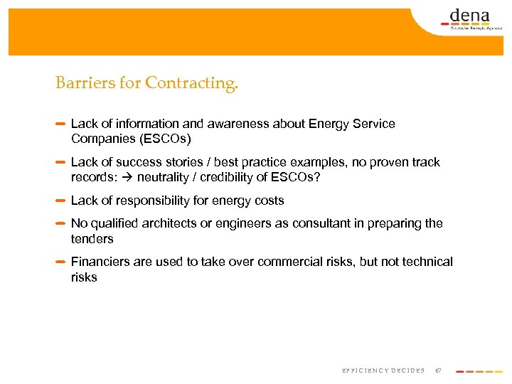 Barriers for Contracting. Lack of information and awareness about Energy Service Companies (ESCOs) Lack
