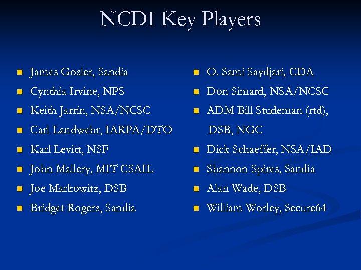 NCDI Key Players n James Gosler, Sandia n O. Sami Saydjari, CDA n Cynthia
