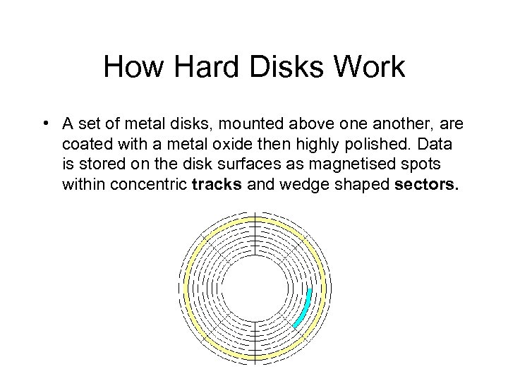 How Hard Disks Work • A set of metal disks, mounted above one another,