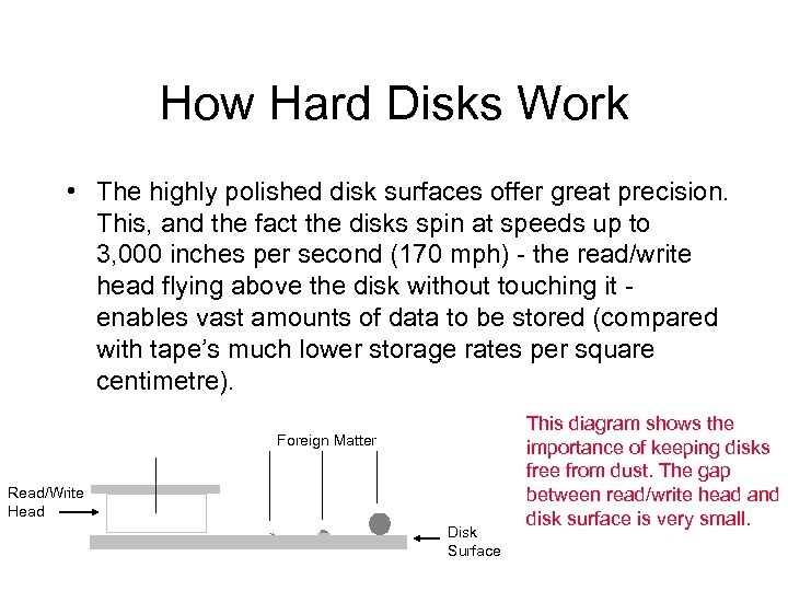 How Hard Disks Work • The highly polished disk surfaces offer great precision. This,