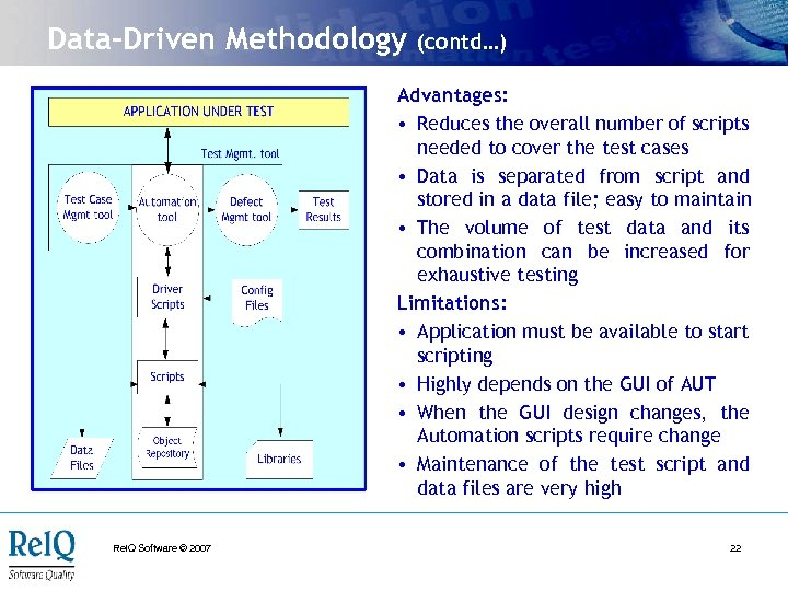 Data-Driven Methodology (contd…) Advantages: • Reduces the overall number of scripts needed to cover