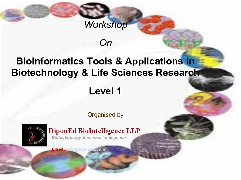 Workshop On Bioinformatics Tools & Applications in Biotechnology & Life Sciences Research Level 1