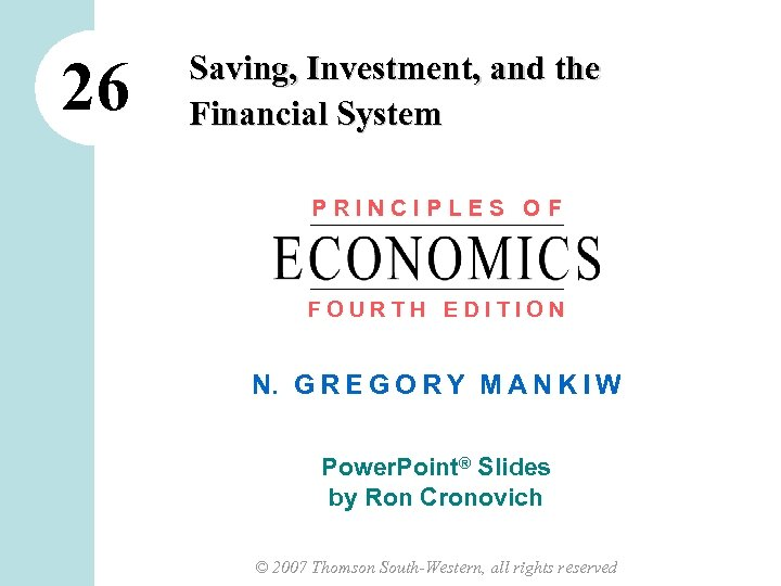 saving investment and the financial system mankiw ppt