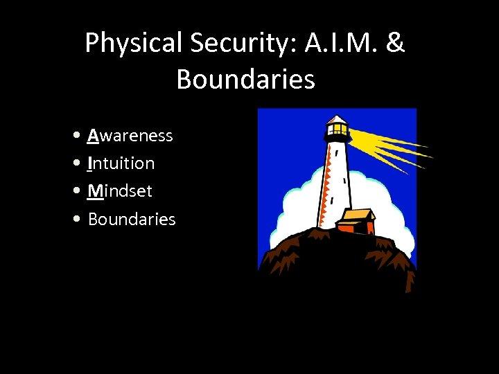 Physical Security: A. I. M. & Boundaries • Awareness • Intuition • Mindset •