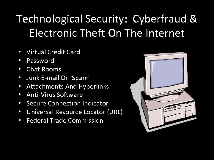 Technological Security: Cyberfraud & Electronic Theft On The Internet • • • Virtual Credit