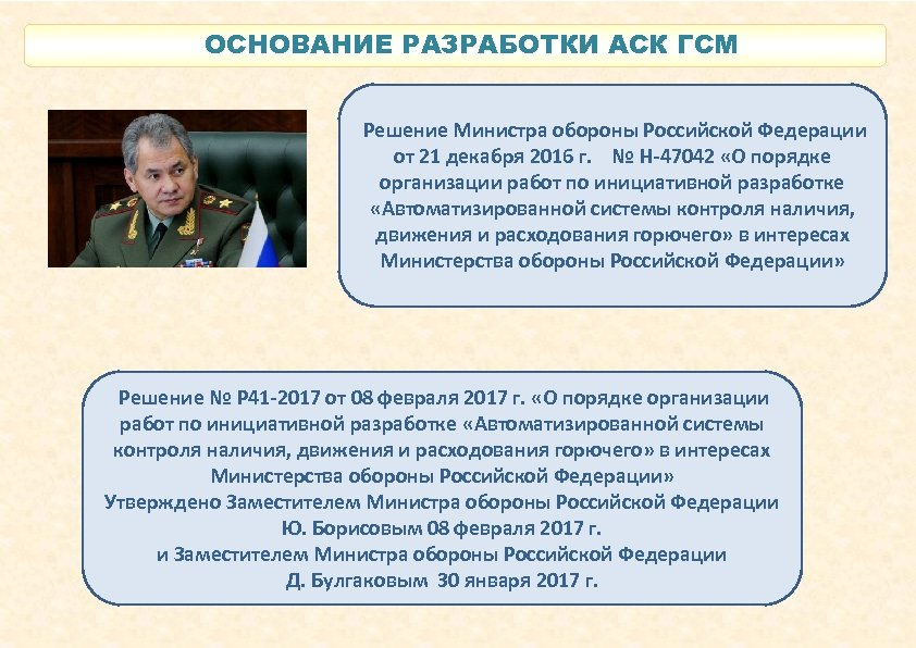 ОСНОВАНИЕ РАЗРАБОТКИ АСК ГСМ Решение Министра обороны Российской Федерации от 21 декабря 2016 г.