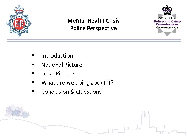 Mental Health Crisis Police Perspective • • • Introduction National Picture Local Picture What