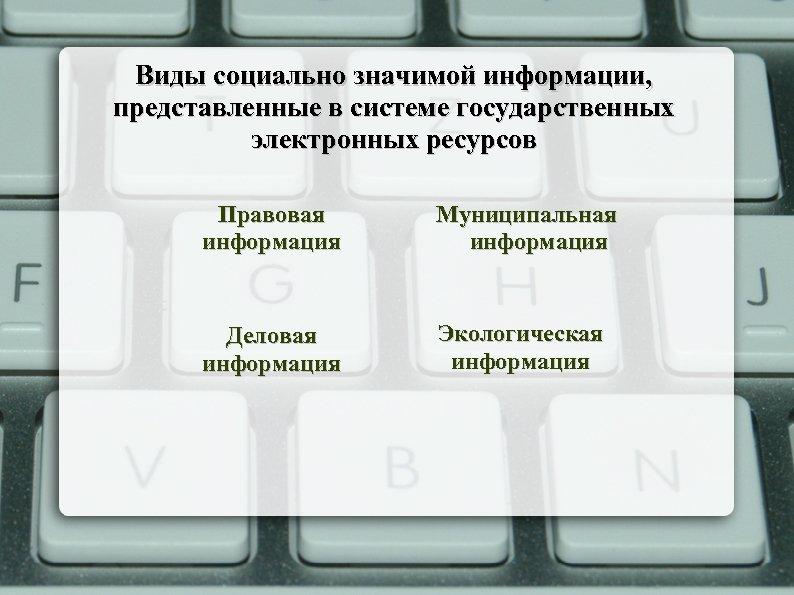 Виды социально значимой информации, представленные в системе государственных электронных ресурсов Правовая информация Муниципальная информация