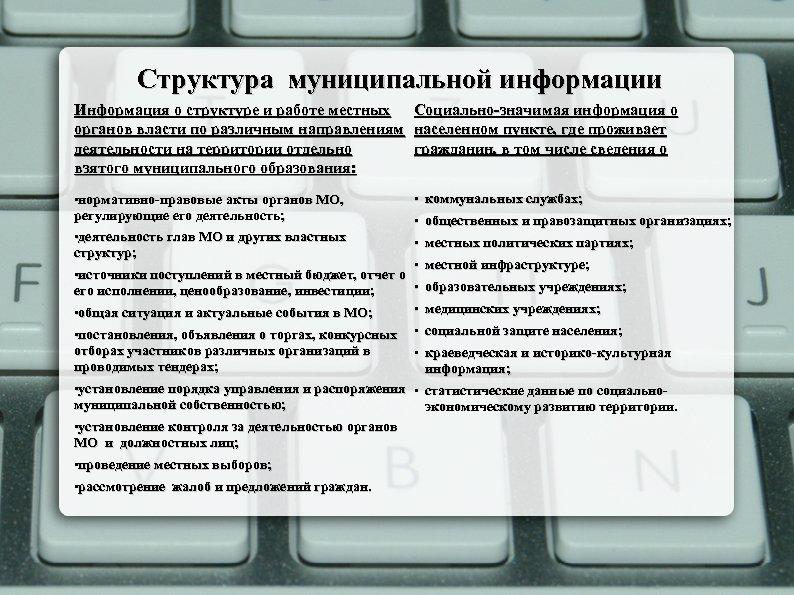 Структура муниципальной информации Информация о структуре и работе местных органов власти по различным направлениям