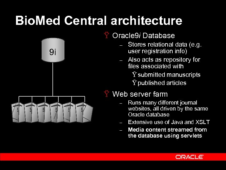 Bio. Med Central architecture Ÿ Oracle 9 i Database 9 i – – Stores