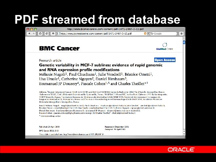 PDF streamed from database