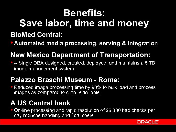 Benefits: Save labor, time and money Bio. Med Central: • Automated media processing, serving