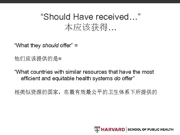 """Should Have received…"" 本应该获得… ""What they should offer"" = 他们应该提供的是= ""What countries with similar"