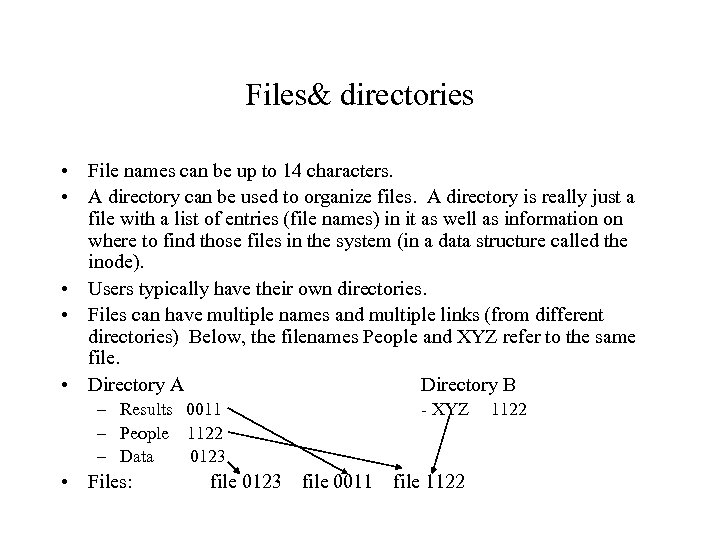 Files& directories • File names can be up to 14 characters. • A directory