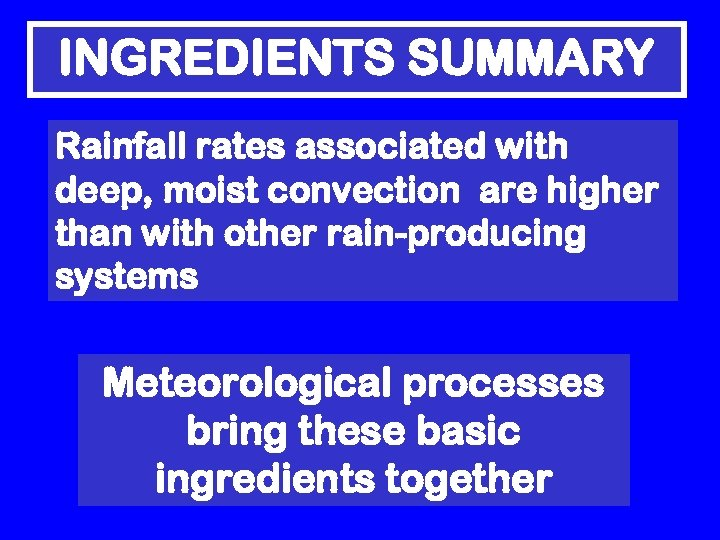 INGREDIENTS SUMMARY Rainfall rates associated with deep, moist convection are higher than with other
