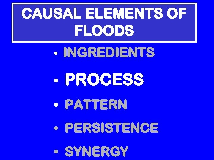 CAUSAL ELEMENTS OF FLOODS • INGREDIENTS • PROCESS • PATTERN • PERSISTENCE • SYNERGY